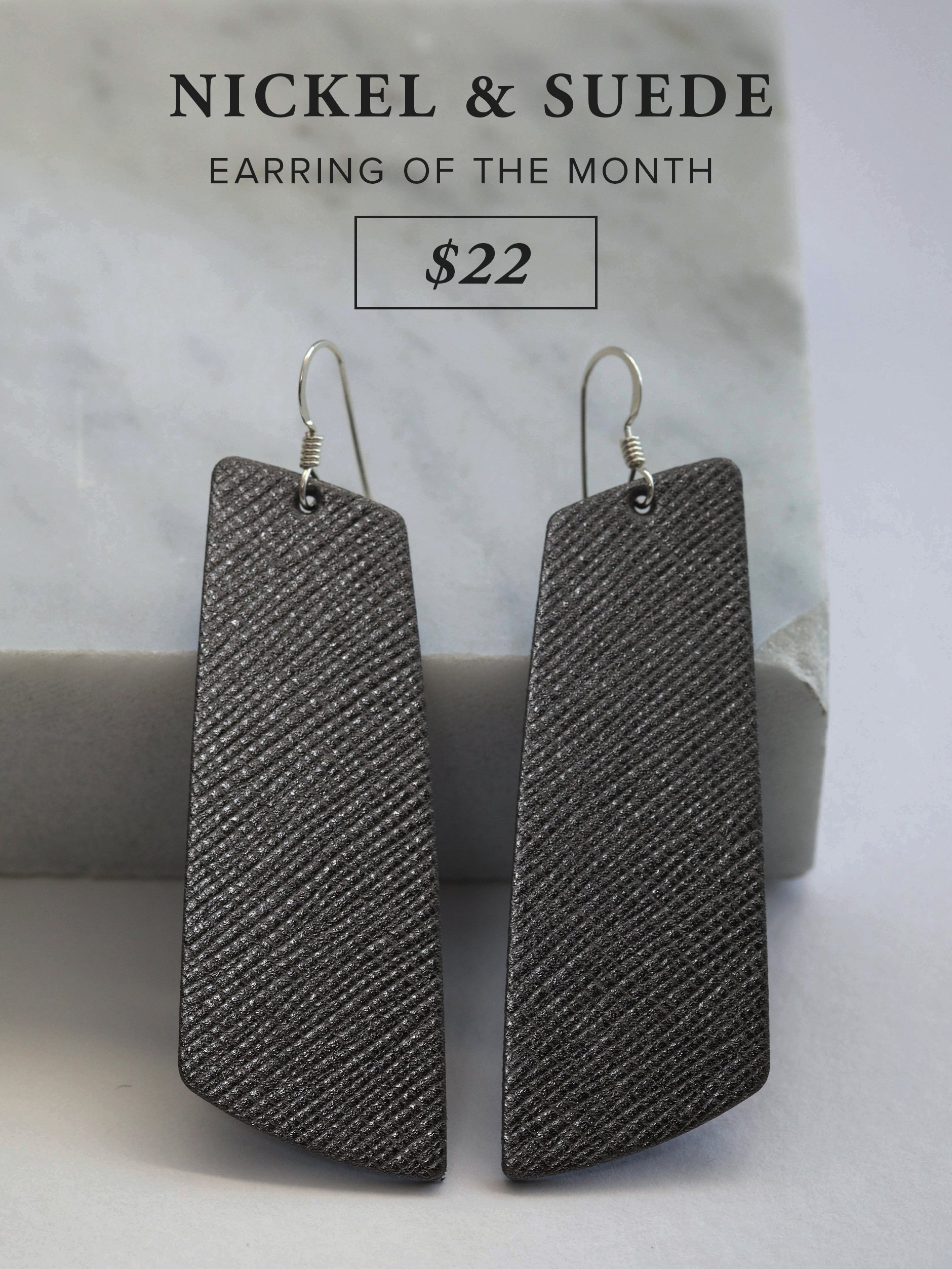 Nickel & Suede Earring of the Month - Gunmetal Gem