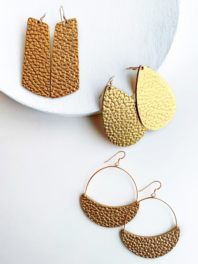 Nickel and Suede Hammered Gold leather earrings