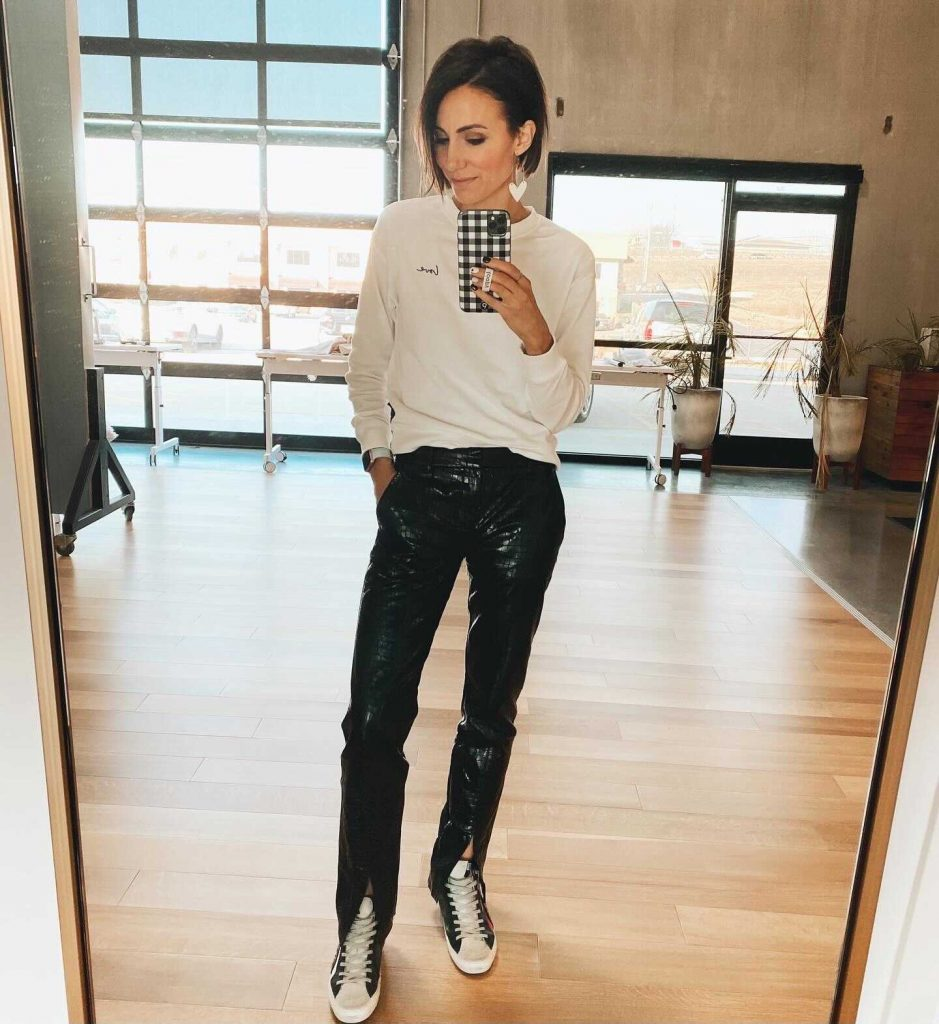 kilee nickels, leather pants, H&M finds