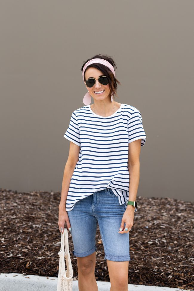Striped Tee and Shorts Style - Kilee Nickels